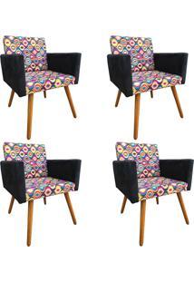 Kit 04 Poltronas Decorativas Nay Estofados Laura Suede Colorido
