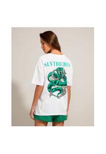 Camiseta Oversized De Algodão Slytherin Harry Potter Manga Curta Decote Redondo Off White