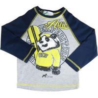 bd07f097d6 Camiseta Infantil Oliver Manga Longa Urso Panda Snow Masculina -  Masculino-Azul+Cinza