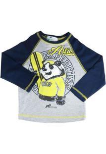 Camiseta Infantil Oliver Manga Longa Urso Panda Snow Masculina - Masculino-Azul+Cinza