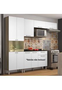 Cozinha Compacta Paneleiro E Armário Aéreo 5 Portas 1 Nicho Star Itatiaia Castanho/Branco
