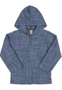 Camisa Infantil Em Tecido Azul
