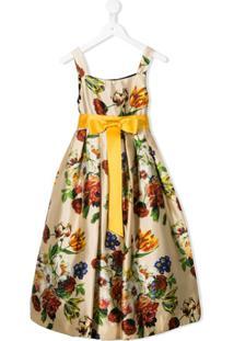 Dolce & Gabbana Kids Vestido De Festa Acinturado Com Estampa Floral - Neutro