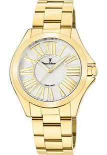 Relógio Analógico Jv01126- Dourado & Branco- Jean Vejean Vernier
