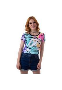 Camiseta Cropped Feminina Overfame Tie Dye Tigrado Md39