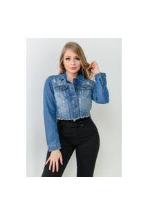Jaqueta Dardak Jeans Cropped Destroyed Azul Escuro