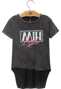 Camiseta John John Kids Mih Malha Cinza Feminina T-Shirt Mih Kids-Cinza Medio-10