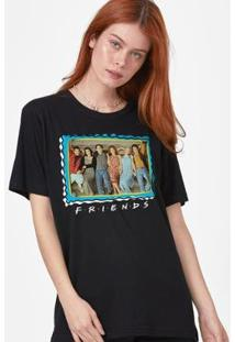 T-Shirt Feminina Friends Selo - Feminino-Preto