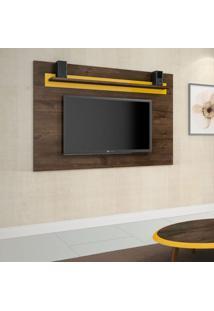 Painel Para Tv Até 60 Polegadas Titânio Flex Cacau E Amarelo