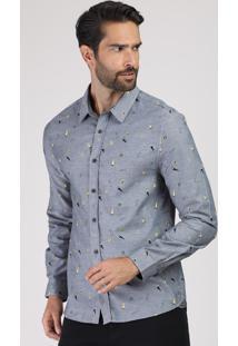 Camisa Masculina Comfort Estampada Mini Print De Bandeiras Manga Longa Cinza Mescla