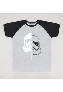 Camiseta Infantil Darth Vader Stormtrooper Star Wars Raglan Manga Curta Cinza Mescla
