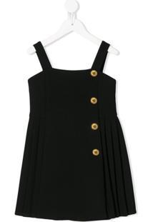 Young Versace Vestido Com Abotoamento - Preto