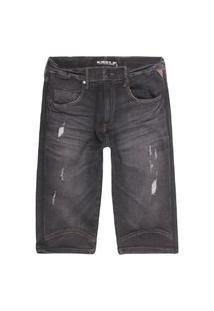 Bermuda Masculina Jeans Black Preto