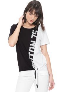 Camiseta Triton Lettering Amarração Preta/Branca