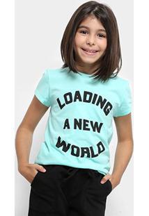 Camiseta Infantil Dimy Candy Dress T-Shirt New World Feminina - Feminino-Verde Água