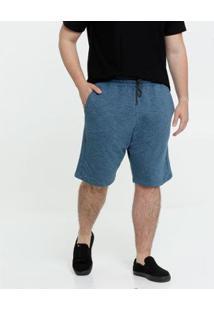 Bermuda Masculina Moletinho Plus Size - Masculino-Azul