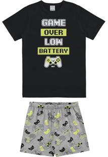 Pijama Meia Malha Penteada Preto