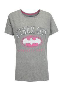 Camiseta Liga Da Justiça Gothan Athletic - Feminina - Cinza