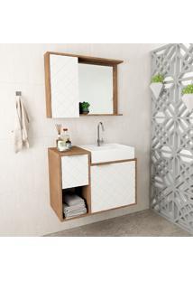 Conjunto De Gabinete Para Banheiro Com Cuba E Espelheira Roma-Arteban. - Marrom