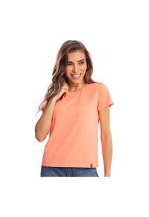 Camiseta Feminina Estonada Malha Premium Coral Lumini - Area Verde