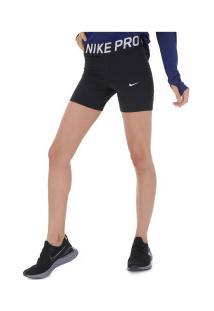 Bermuda Nike Pro 5In - Feminina - Preto/Branco