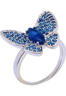 Anel Borboleta Cravejado Com Zircônias Azul Marinho Banho Em Ródio Aro 17