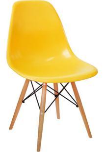 Cadeira Eames Base Madeira E Amarela