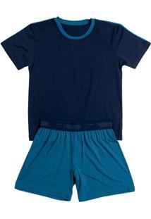 Pijama Infantil Mash Masculino - Masculino-Marinho+Azul