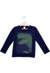 Camiseta Infantil De Manga Longa Boca Grande Dinossauro Menino Marinho - 4