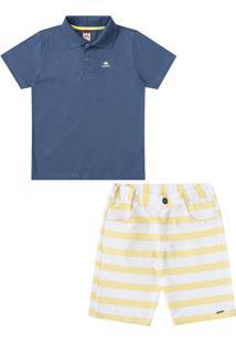 Conjunto Infantil Camisa Polo E Bermuda Infantil Listrada Glinny Masculino  - Masculino-Marinho+Branco a0a5b3d1c5a23