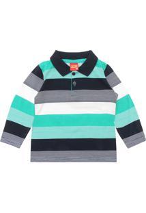 Camiseta Polo Kyly Menina Listrado Verde