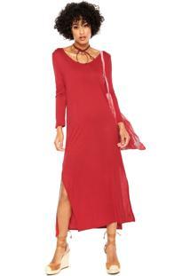 Vestido Cantão Midi Fenda Vermelho