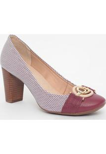 Sapato Em Couro Texturizado Com Aviamentos - Vinho & Brajorge Bischoff