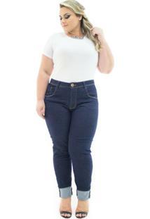 e773bf908a Calça Jeans Confidencial Extra Plus Size Cigarrete Com Lycra Feminina -  Feminino-Azul Escuro