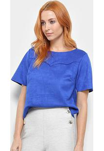 Camiseta Camurça Dimy Feminina - Feminino-Azul
