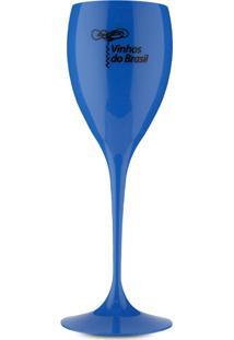 Taça De Acrílico Vinhos Do Brasil Azul