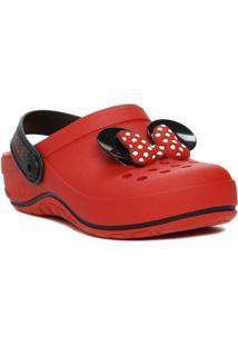 Chinelo Babuche Disney Infantil Para Menina - Vermelho/Preto