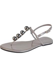 Rasteira Mercedita Shoes Verniz Chumbo Com Bola Onix Cinza - Cinza - Feminino - Dafiti