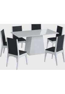 Conjunto Mesa C/ Base 6 Cadeiras Branco Móveis Canção