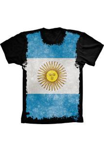 Camiseta Baby Look Lu Geek Flag Argentina Preto