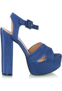 Luiza Barcelos Sandália Meia Pata Envernizada - Azul