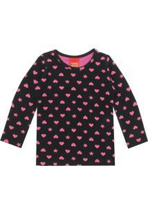 Camiseta Kyly Menina Coração Preta
