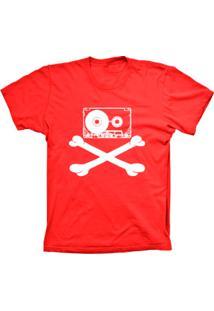 Camiseta Lu Geek Manga Curta Fita Caveira Vermelho