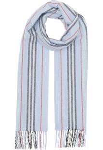 Burberry Cachecol Icon De Cashmere Com Listras - Azul