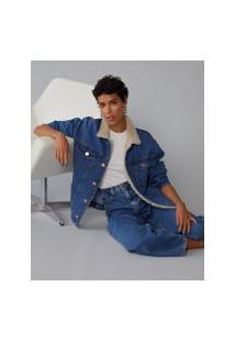 Amaro Feminino Jaqueta Jeans Com Pelo Gola, Indigo Escuro