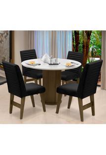 Conjunto De Mesa Para Sala De Jantar Com 4 Cadeira Turim-Dobue - Castanho / Branco Off / Preto Vlp Bordado