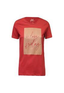 Camiseta Feminina I Love Friday Brilho Vermelho