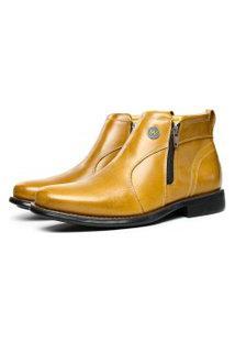 Bota Botina Masculina Com Zíper Sapatofran Confort Em Couro Amarelo