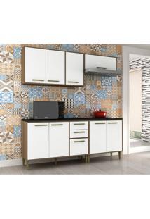 Cozinha Compacta Vitória 8 Pt 3 Gv Branca E Avelã