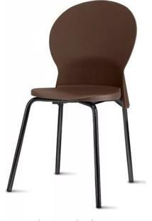 Cadeira Luna Assento Marrom Base Preta - 53845 - Sun House